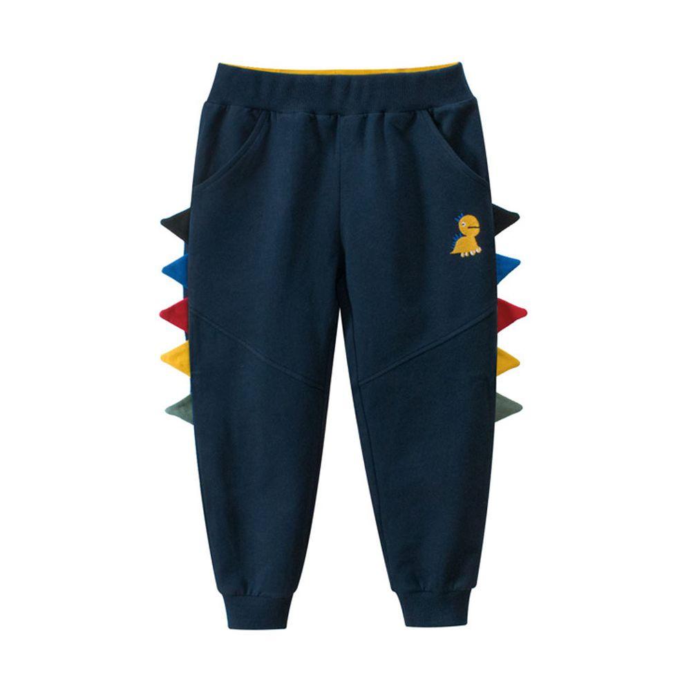 純棉長褲-彩色立體恐龍-藍色