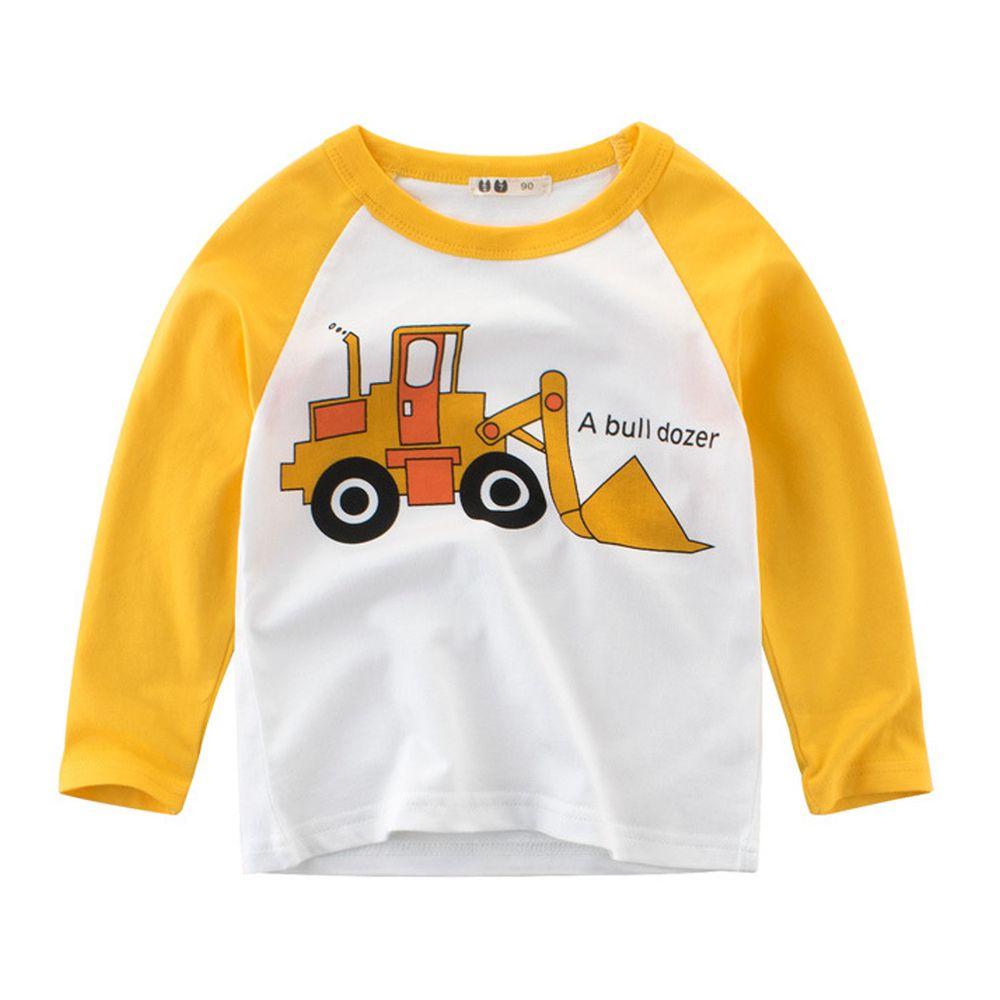 純棉長袖T恤-黃色挖土機