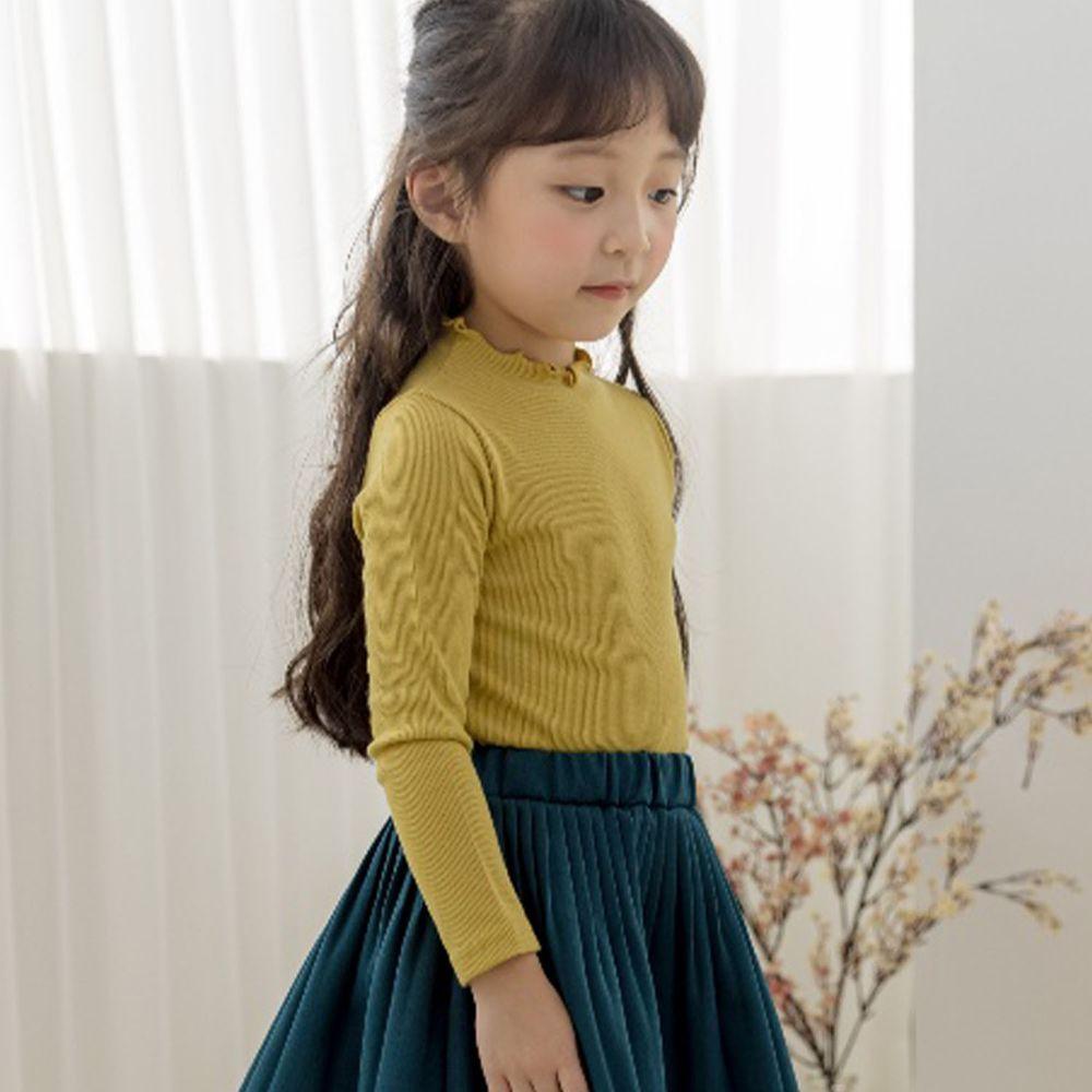 韓國 Orange Mom - 卷卷領針織上衣-芥末黃