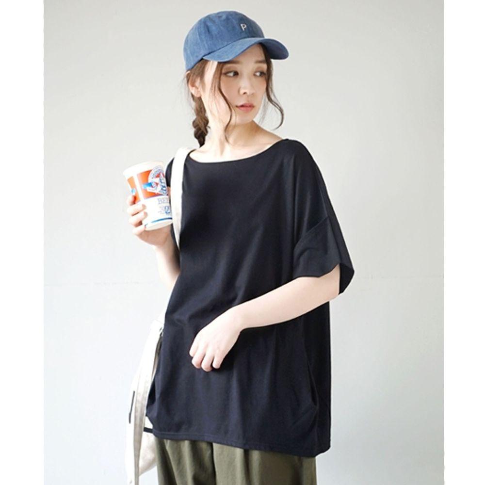 日本 zootie - Design+ 顯瘦立體感剪裁落肩五分袖上衣-黑