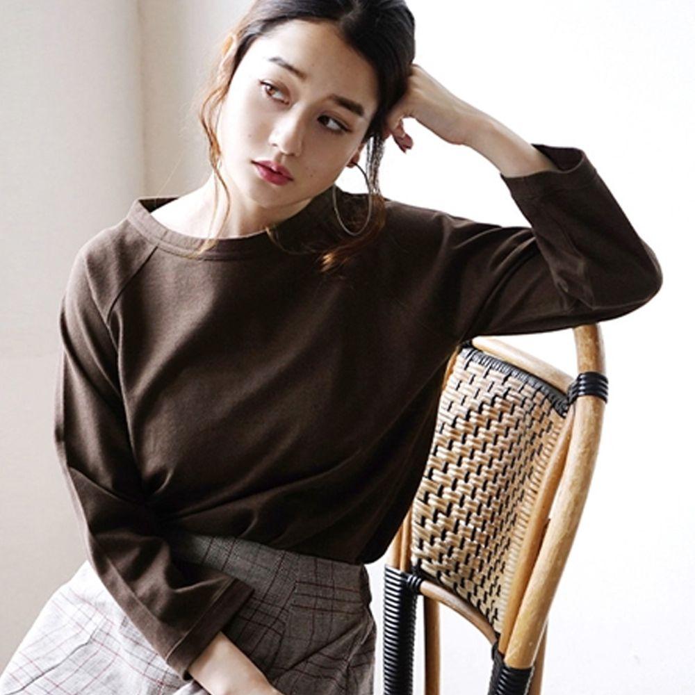 日本 zootie - [撥水/撥油加工] 抗油污耐洗純棉七分袖上衣-深咖啡