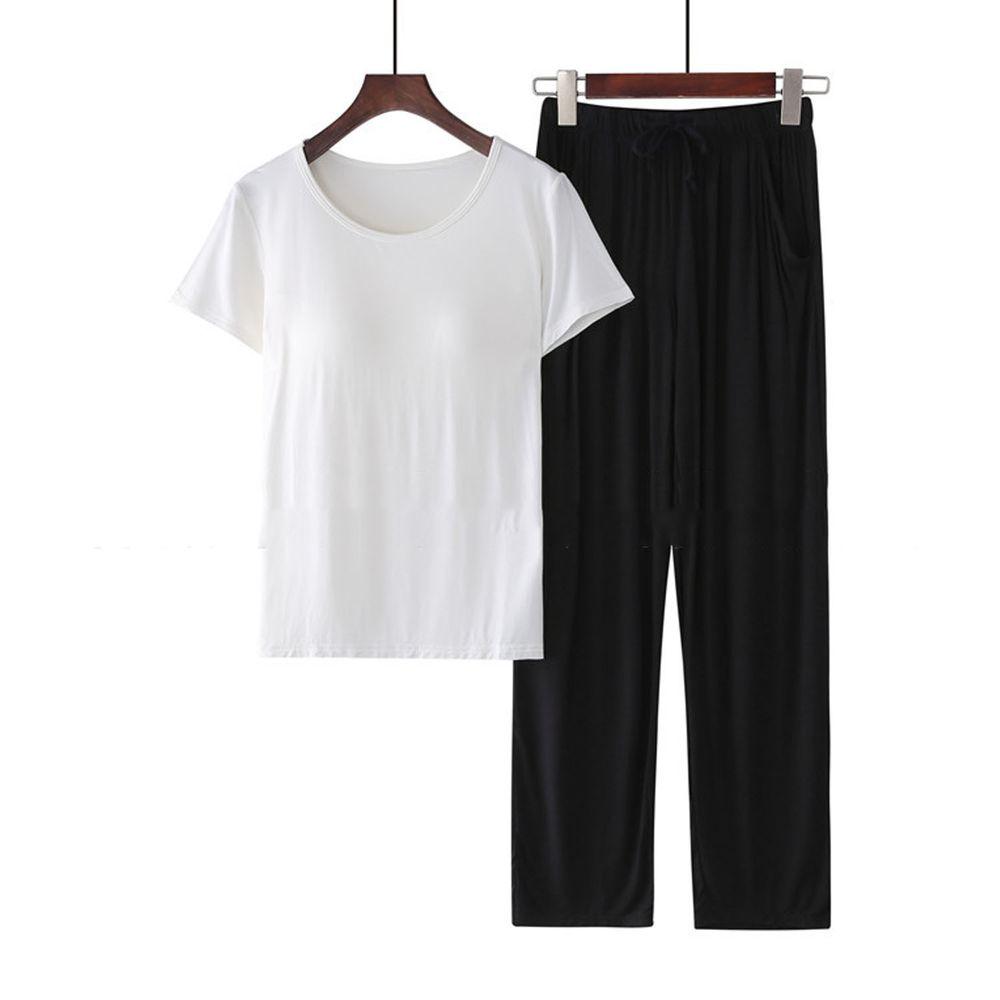 莫代爾柔軟涼感Bra T家居服-長褲套裝-白色