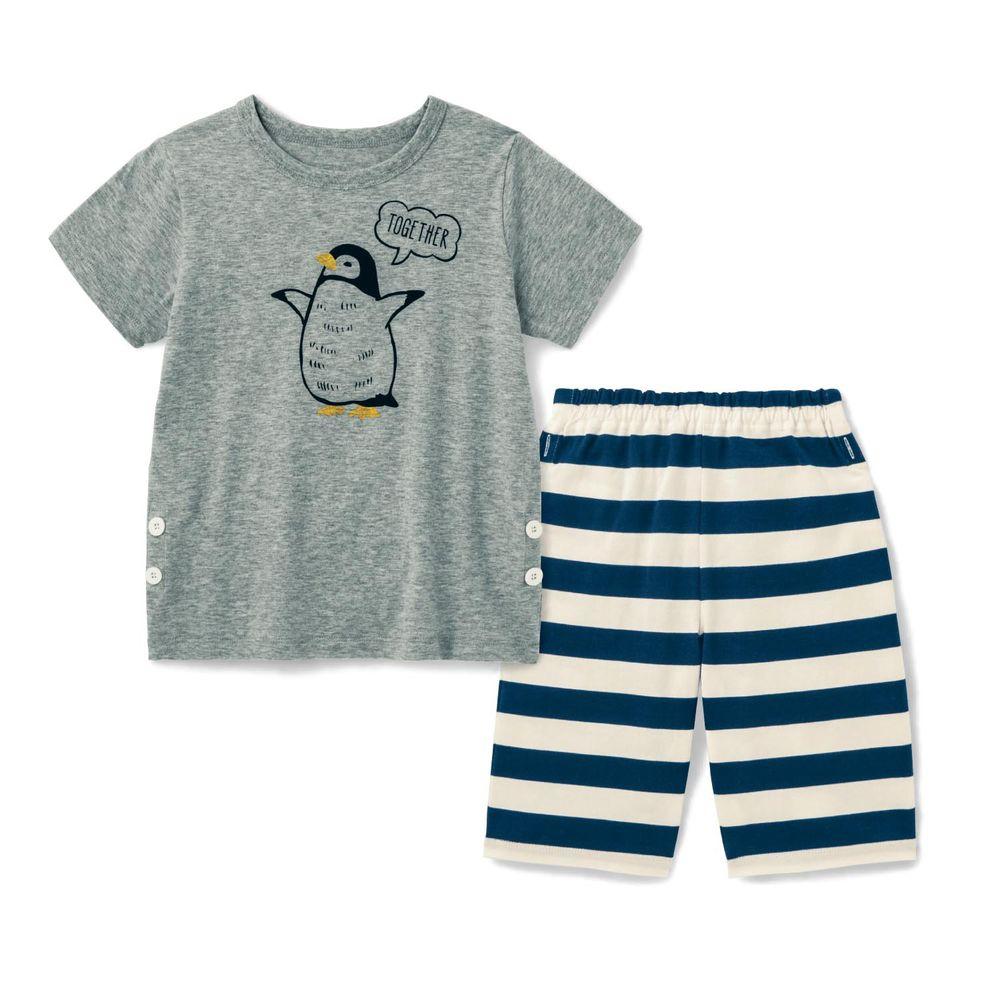 日本千趣會 - 純棉涼爽舒適短袖家居服(兒童)-企鵝-灰