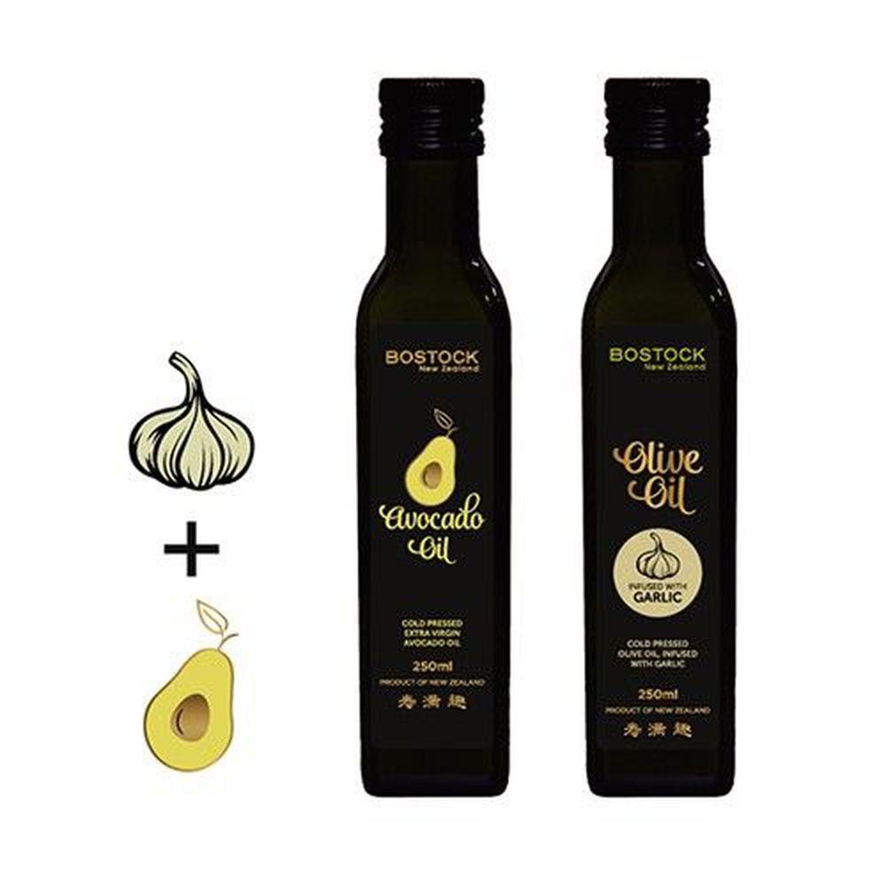 壽滿趣-紐西蘭BOSTOCK - 頂級優惠兩件組-頂級冷壓初榨酪梨油+蒜香風味橄欖油-250ml*2