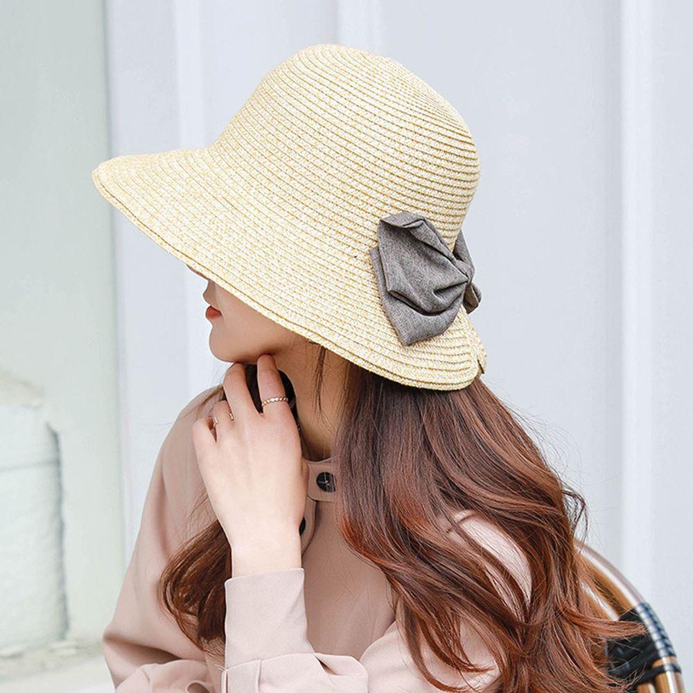 成人百搭漁夫蝴蝶結遮陽草帽-雙色米色 (58-60cm)