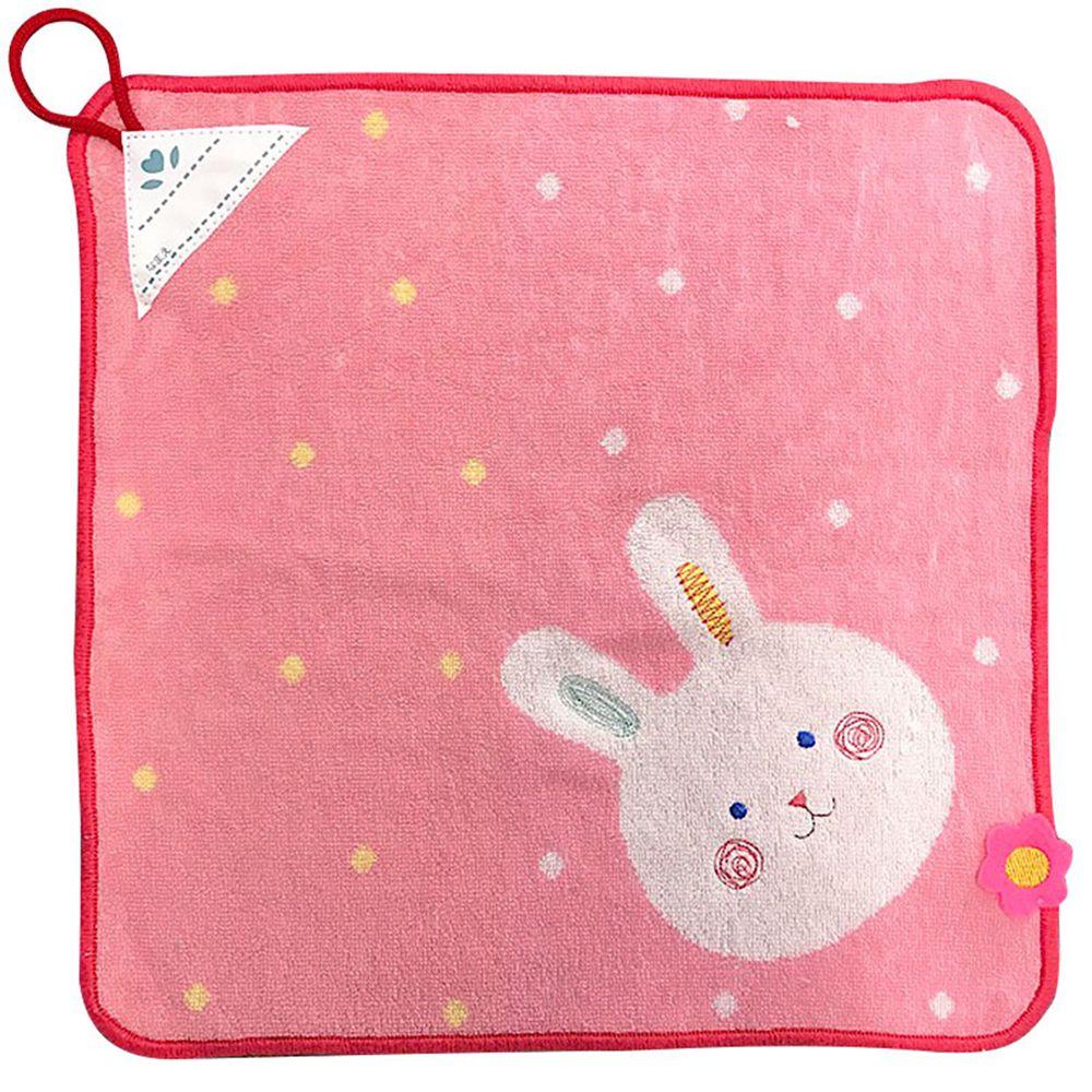 akachan honpo - 擦手巾pocket town-微笑動物-粉紅色-34×34cm