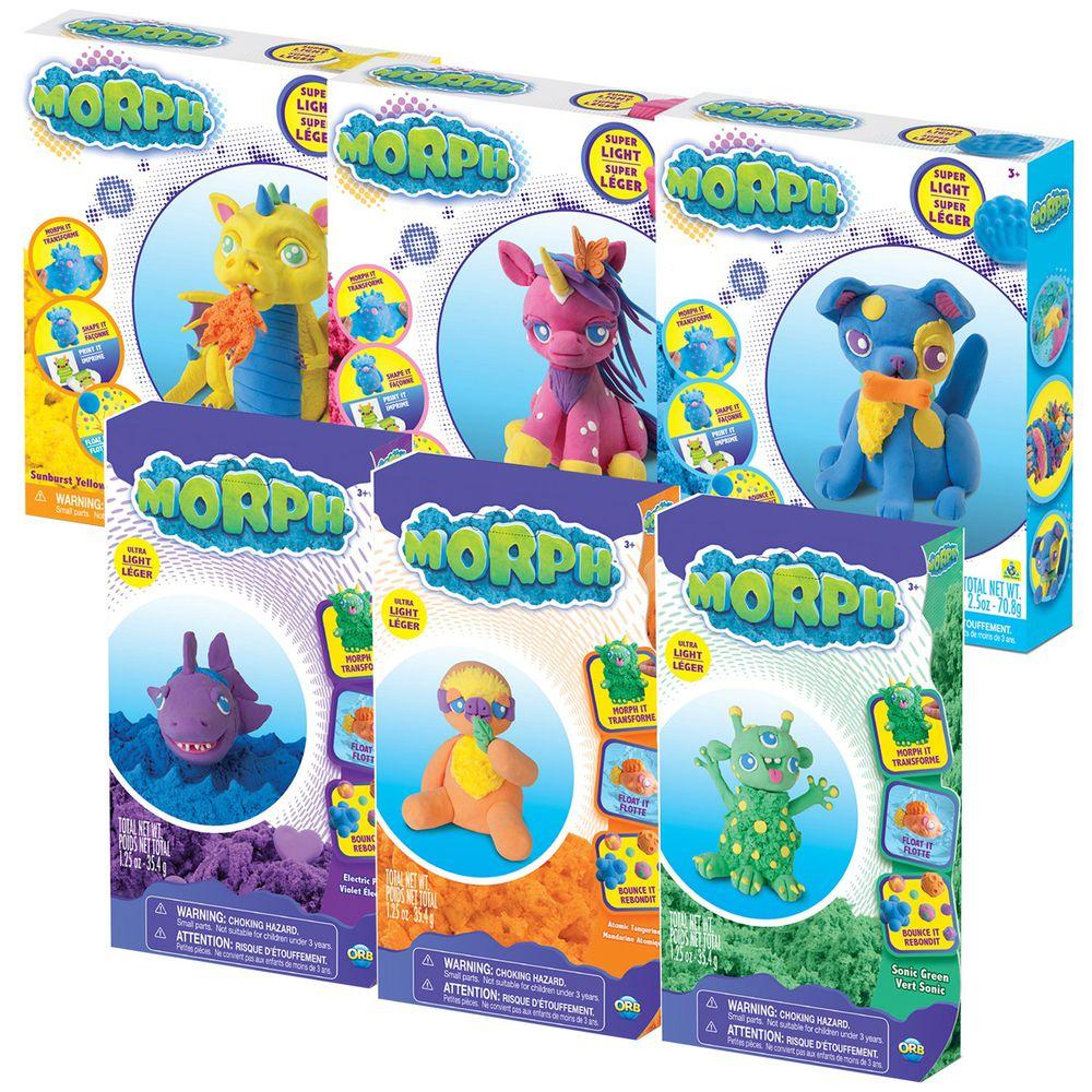 瑞典 MORPH - 【開心玩樂】魔塑黏土-藍L+黃L+粉L+紫M+綠M+橘M-35.4g×3、70.8g×3