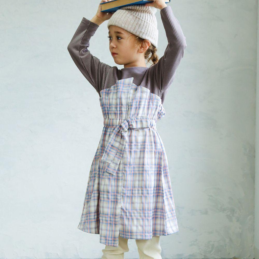 日本 PAIRMANON - 假兩件拼接蝴蝶結鬆餅紋長袖洋裝-格紋-摩卡X紫粉