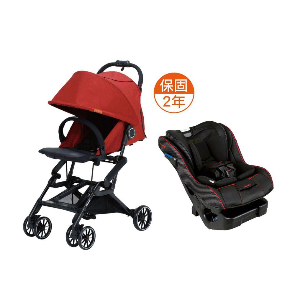 日本 Combi - 捷旅 CFS  嬰兒手推車-New Prim Long EG 羅馬黑-冒險紅-1個月~36個月(體重15kg以下)