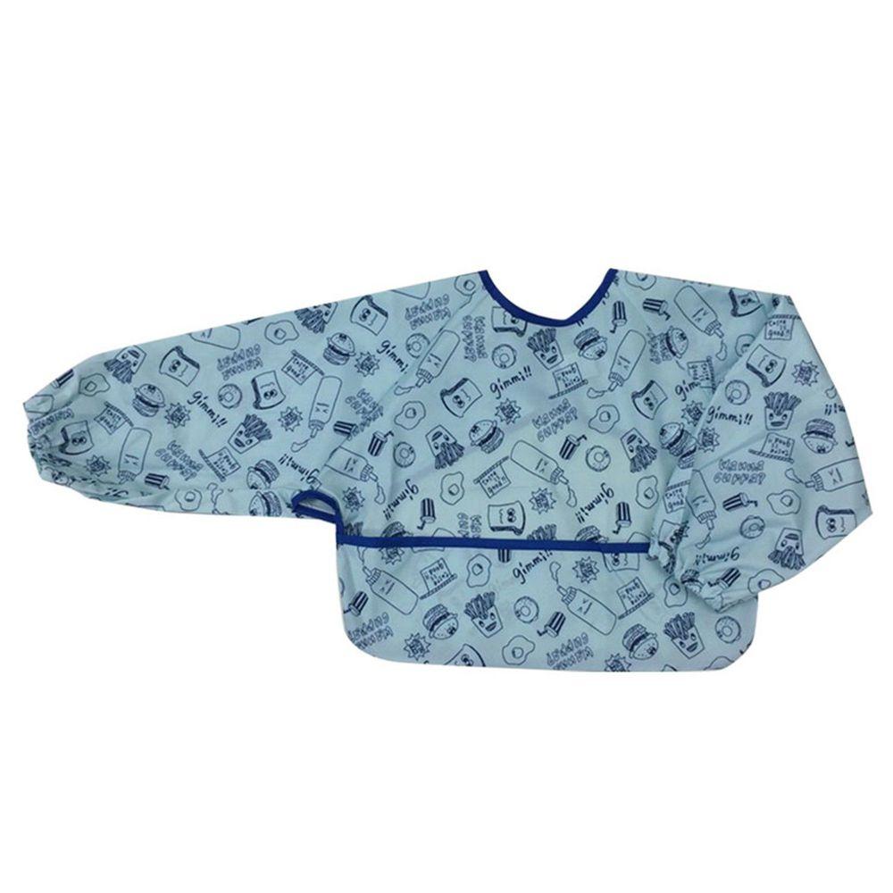 akachan honpo - 嬰幼兒潑水加工長袖圍兜B-藍色
