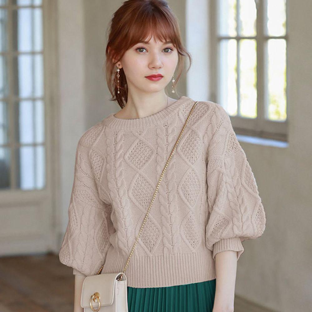 日本 GRL - 編織紋美腰綁帶寬版七分袖針織上衣-杏