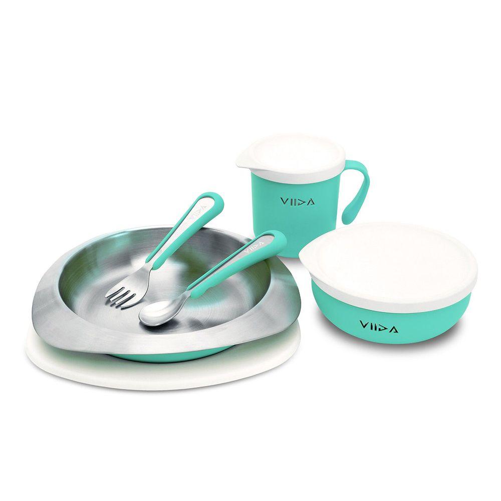 VIIDA - Soufflé抗菌不鏽鋼兒童餐具組-碗、盤、杯、叉子、湯匙-綠