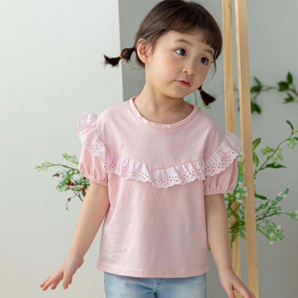 韓國 Orange Mom - 鏤空荷葉滾邊領上衣-淺粉紅