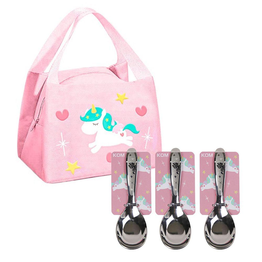 KOM - 童趣便當袋-3入組+ 316不鏽鋼兒童平底匙-3入組-獨角獸
