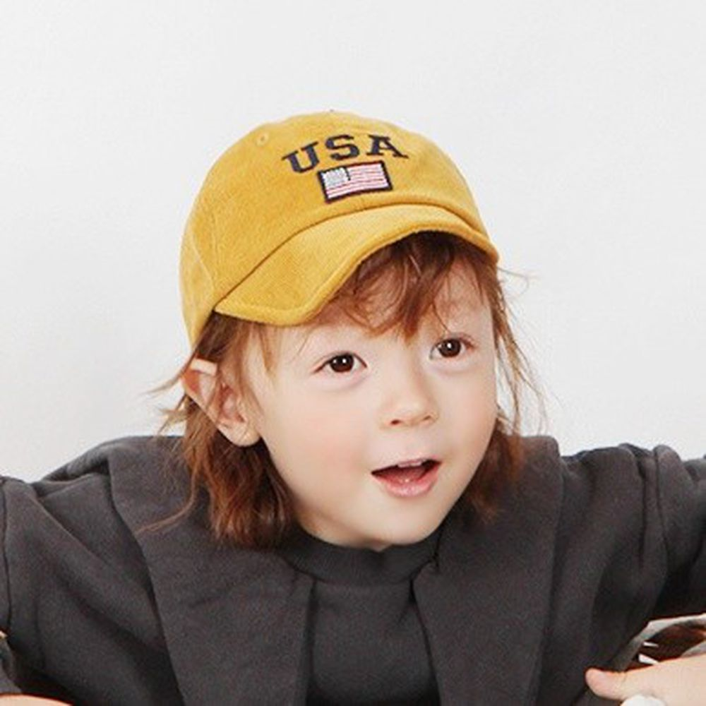 韓國 Babyblee - USA燈芯絨棒球帽-芥末黃 (FREE)