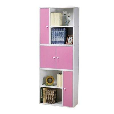【任意組-白色櫃體】多用途書櫃三件組-俏皮粉