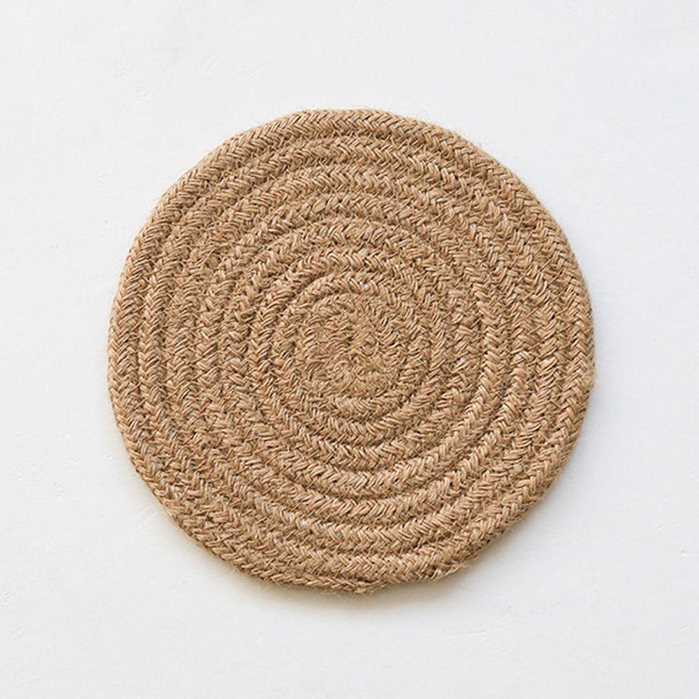 日系感編織隔熱墊-黃麻色