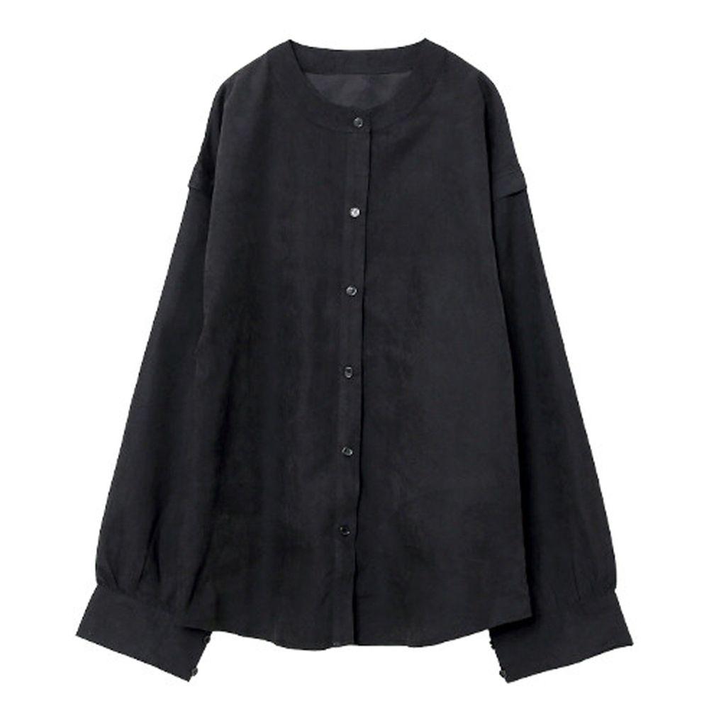 日本女裝代購 - 無印風無領長袖襯衫-黑 (M(Free size))