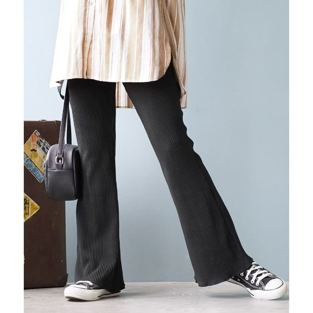 日本 zootie - 微起毛羅紋喇叭褲-黑