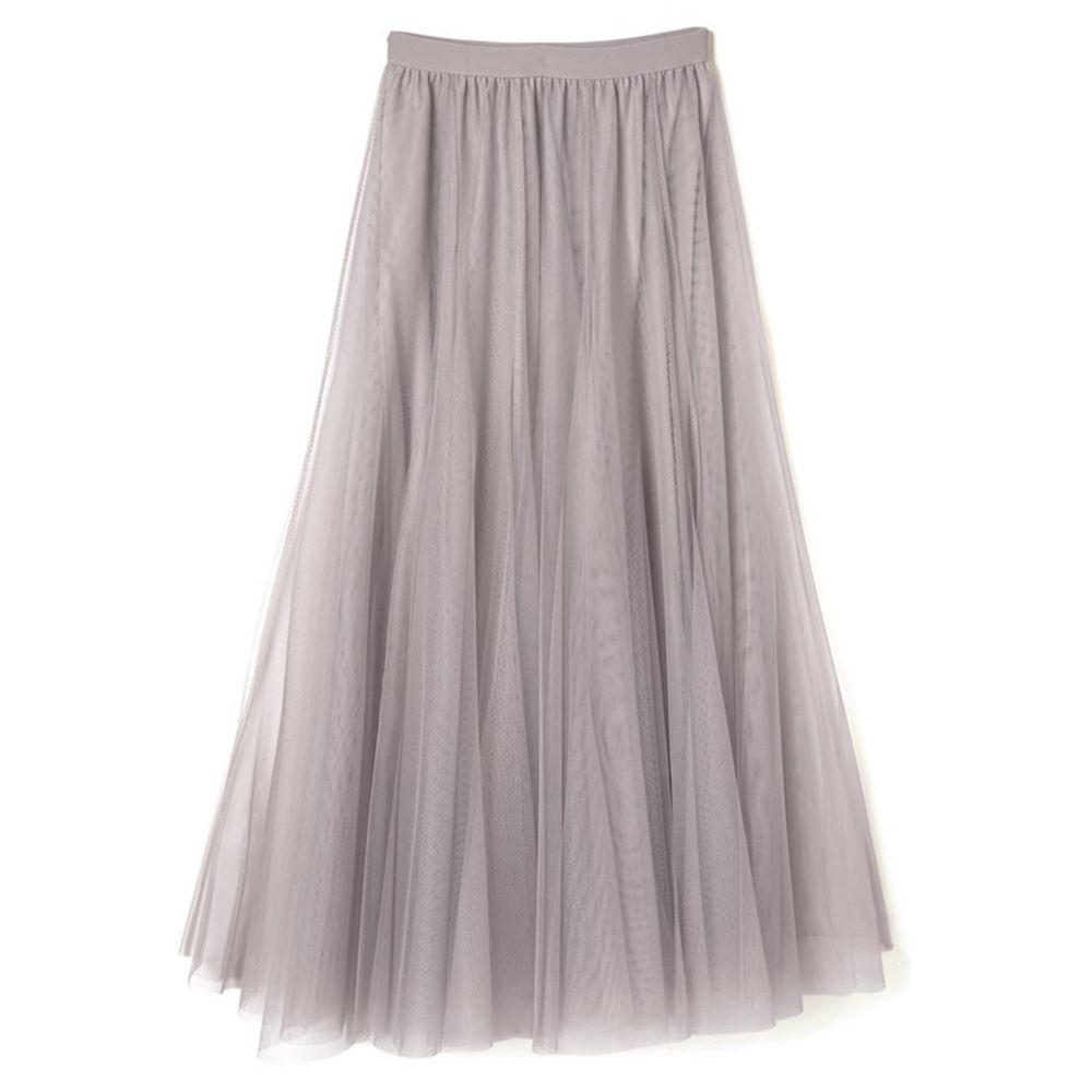 日本 GRL - 飄逸顯瘦雙層傘紗裙-淺灰杏 (M)