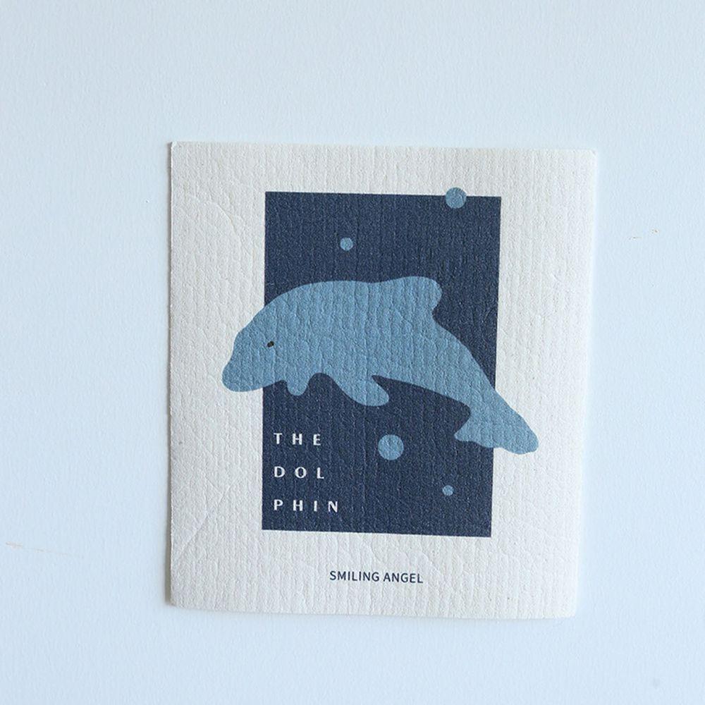 北歐風木漿棉吸水抹布-海豚