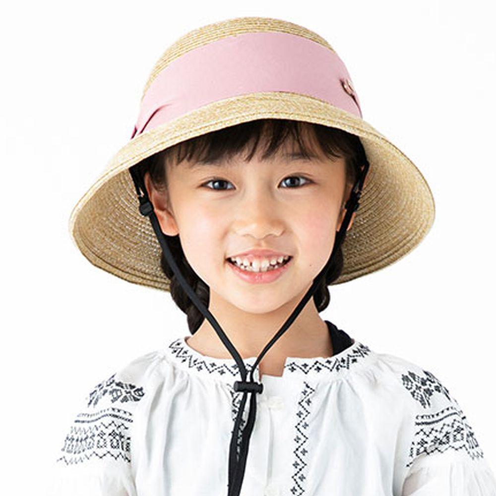 日本服飾代購 - 【irodori】寬版緞帶雙鈕釦草帽(附防風帽帶)-兒童款-褐X粉 (54cm)