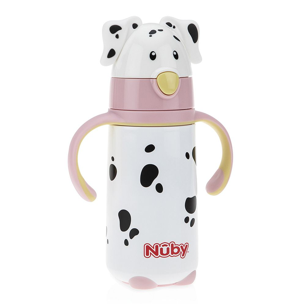 Nuby - 不鏽鋼真空學習杯-大麥町狗狗-粉-420ml(細吸管)