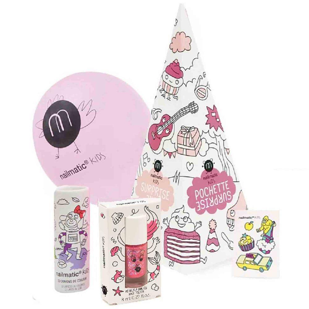 Nailmatic - Nailmatic 派對指甲油驚喜禮盒組(MLN)-閃粉紅-小美人魚指甲油8mlx1+紋身轉印貼紙x1+氣球x1+鉛筆色筆12色x1