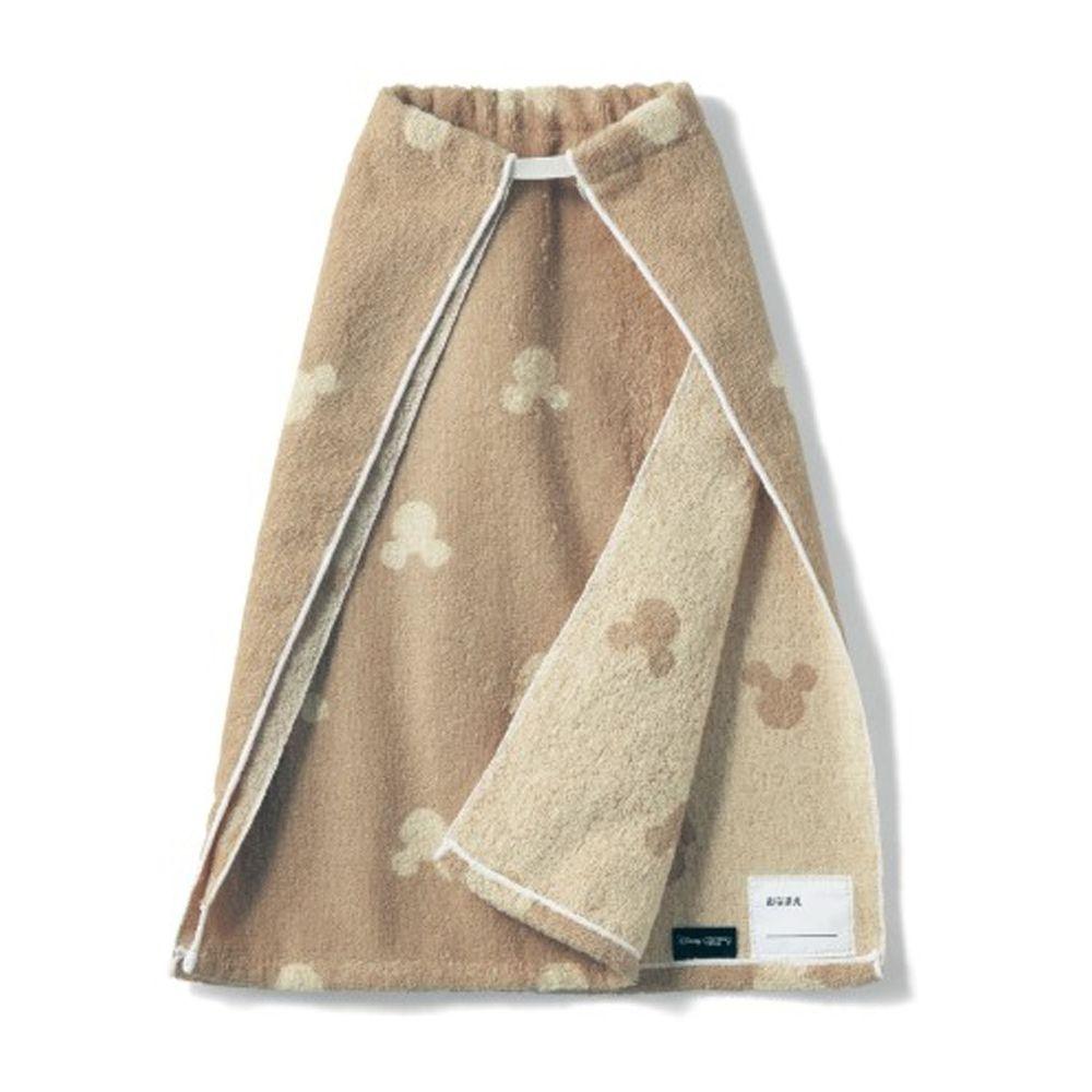 日本千趣會 - 迪士尼毛巾圍兜2件組-米奇頭-杏色系 (長(34x42.5cm(雙層)))