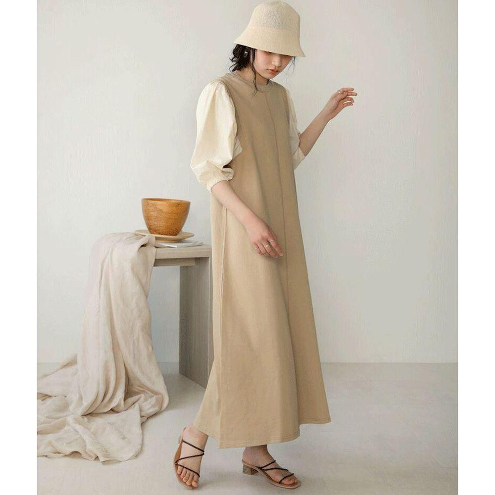 日本 Bou Jeloud - 異材質拼接撞色五分袖長洋裝-杏