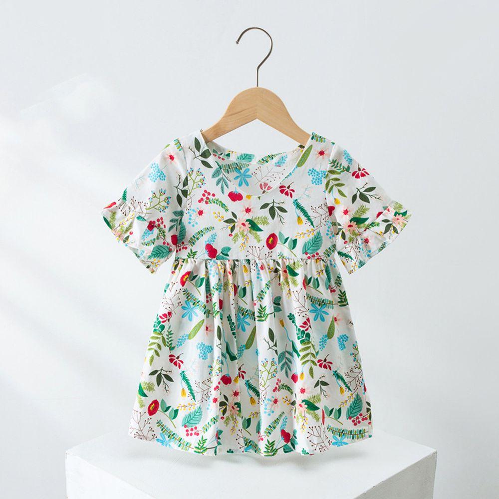 V領荷葉短袖純棉洋裝-綠色花園