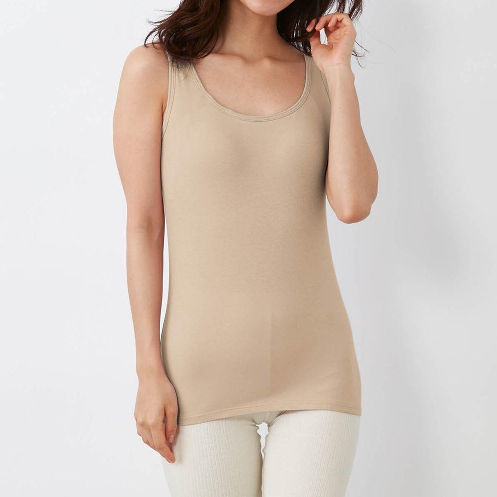 日本千趣會 - 95% 棉 無袖背心發熱衣(附罩杯)-沙杏