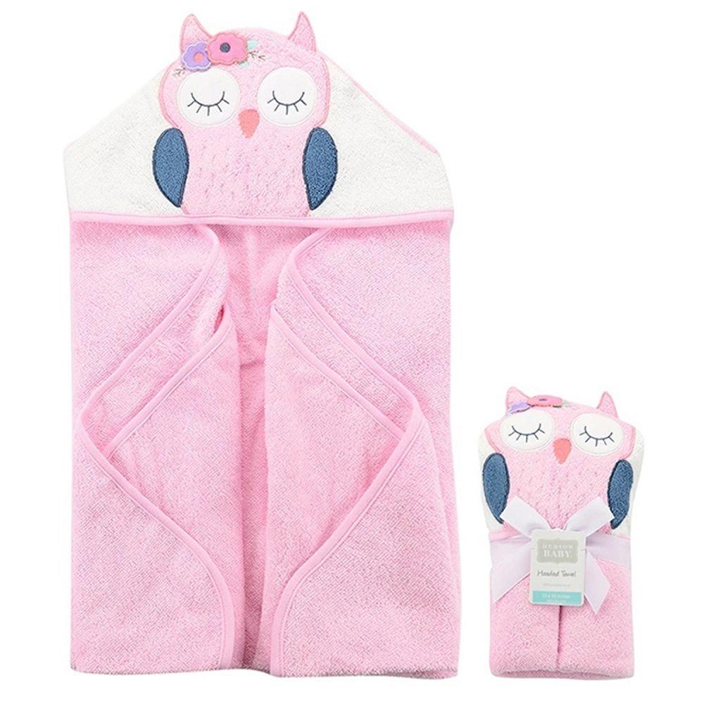美國 Luvable Friends - 100% 純棉嬰幼兒動物造型連帽浴巾/包巾-甜美貓頭鷹