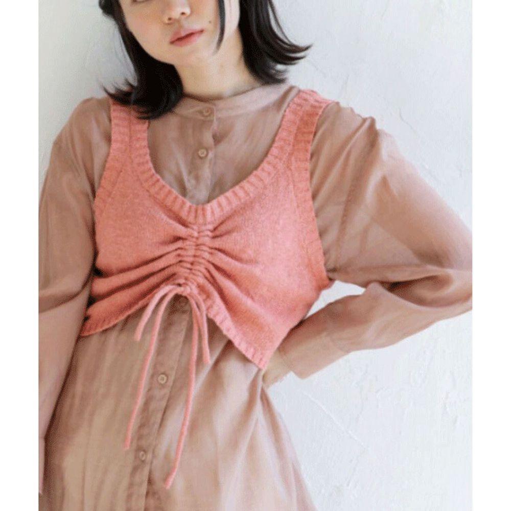 日本 Bou Jeloud - 抽繩設計V領針織小背心-粉橘