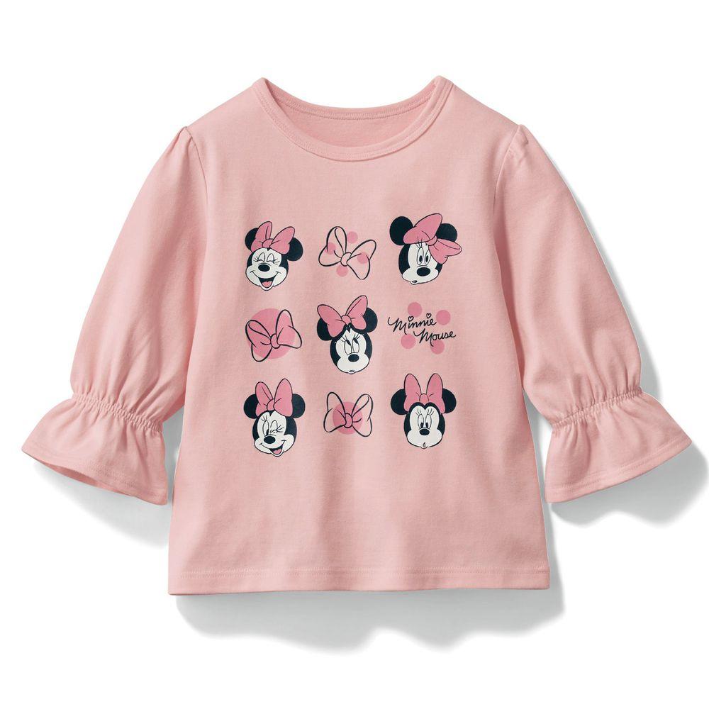日本千趣會 - 迪士尼印花七分袖T(荷葉袖)-米妮蝴蝶結-粉紅