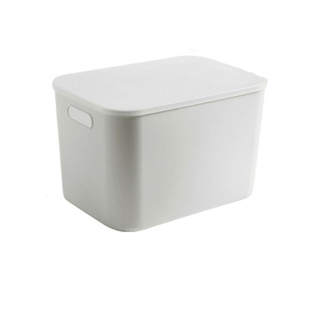 日系簡約白色收納盒-加高款大號(36.5x26x24.5cm)-有把手