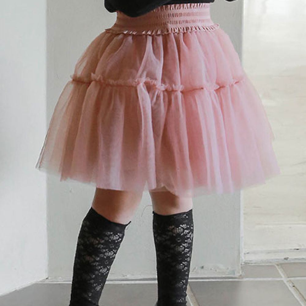 韓國 Puellaflo - 軟紗鬆緊帶紗裙-粉紅