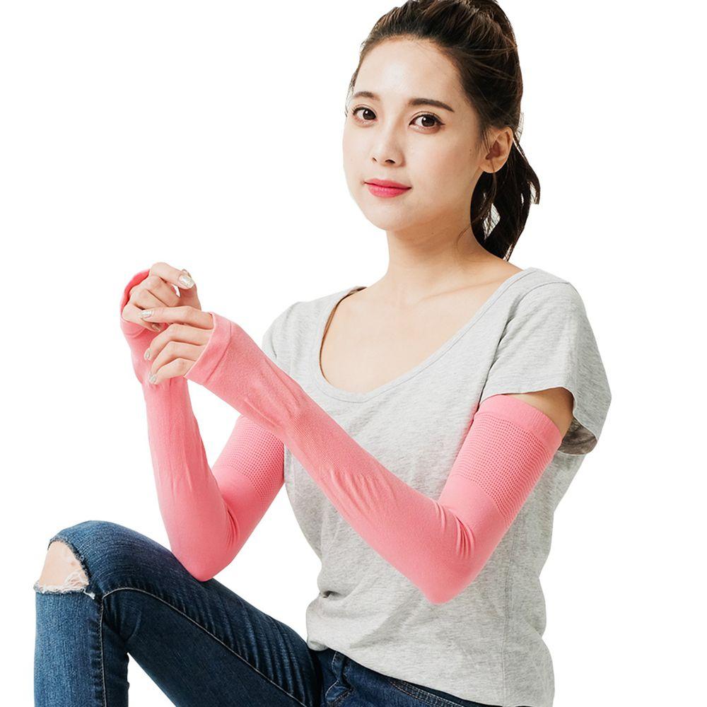 GIAT - UPF50+勁涼彈力防曬袖套(男女適用)-蜜紅 (FREE)