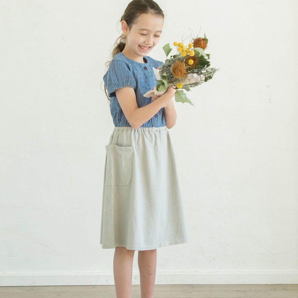 日本 PAIRMANON - 純棉楊柳皺摺拼接短袖洋裝-水藍X灰