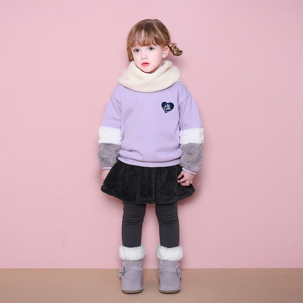 韓國 Jelispoon - 毛茸茸袖子愛心T-紫