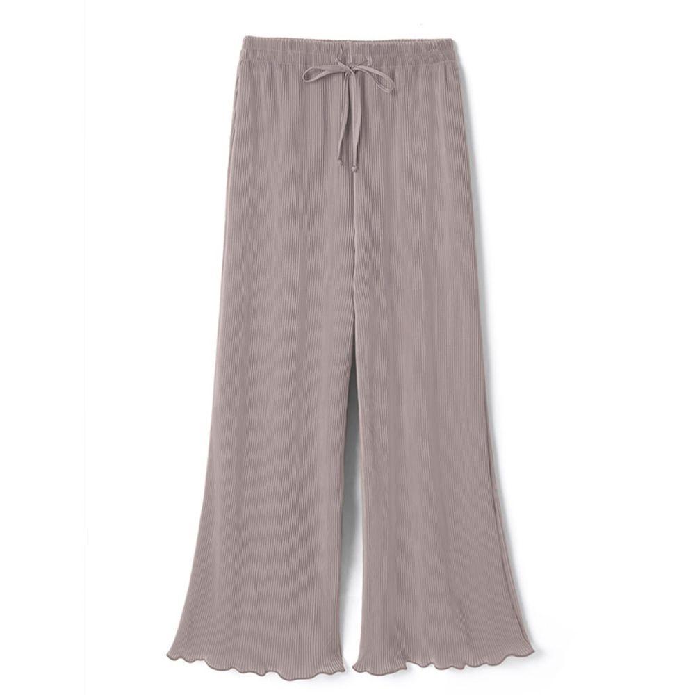 日本 GRL - 慵懶垂墜羅紋寬褲-淺灰杏