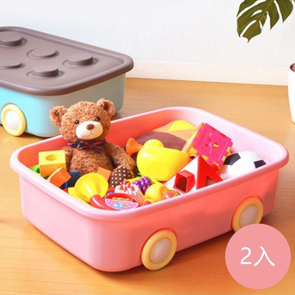 日本伸和 Shinwa - 日本製 玩具衣物可疊固定收納箱XL(50L)-附輪-2入-粉紅