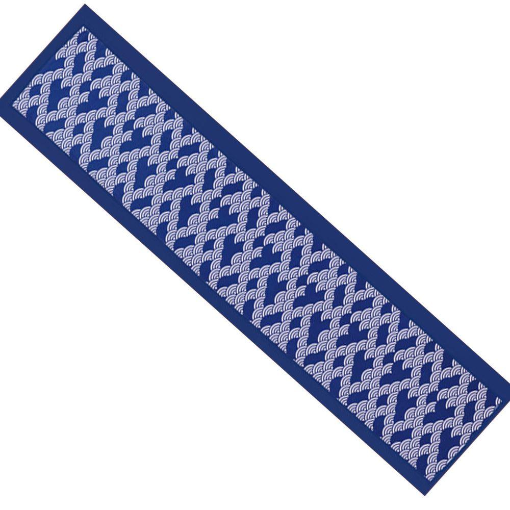 日本丸和 - 和柄小江戶水涼感巾(附收納袋)-青海波-藍 (20x100cm)