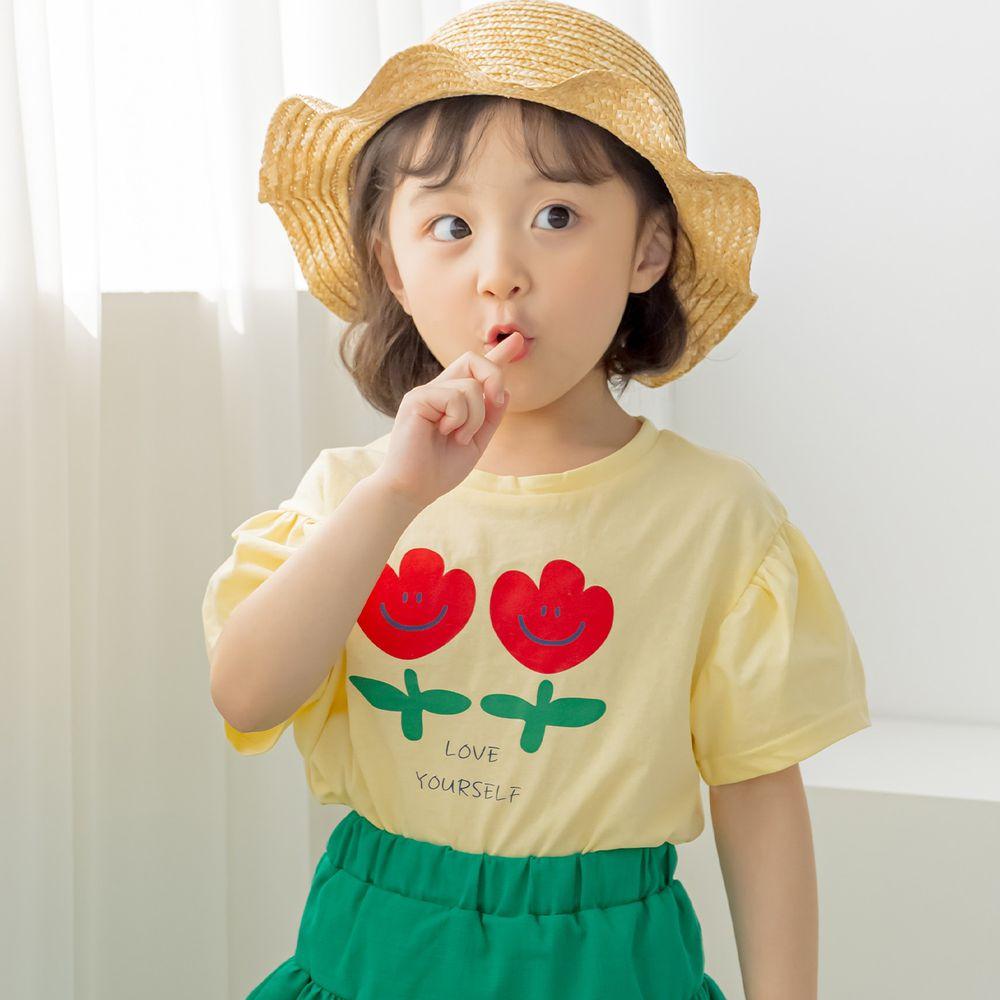 韓國 Orange Mom - 微笑鬱金香泡泡袖上衣-鵝黃