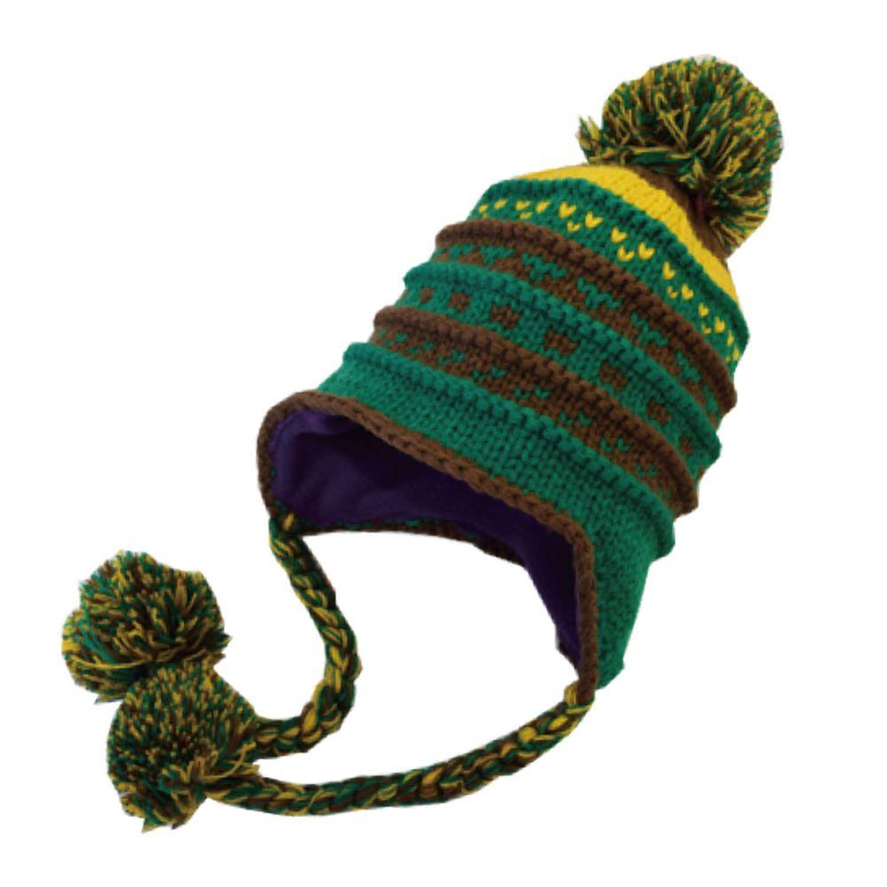 日本 GRIN BUDDY - 撞色立體針織雙垂毛球毛帽-綠 (頭圍53cm)