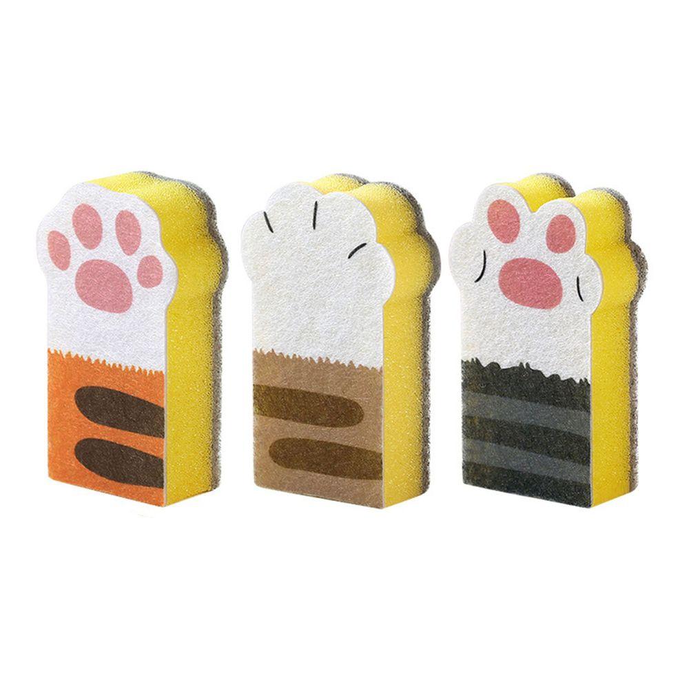 貓爪海綿鍋具清潔刷-3入組-黃色