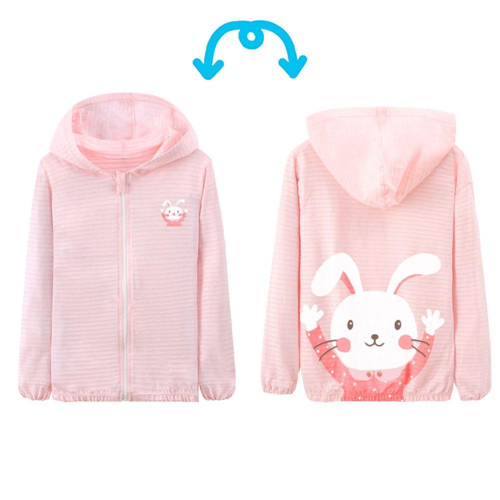 竹節棉輕薄款連帽外套-兔子-粉色
