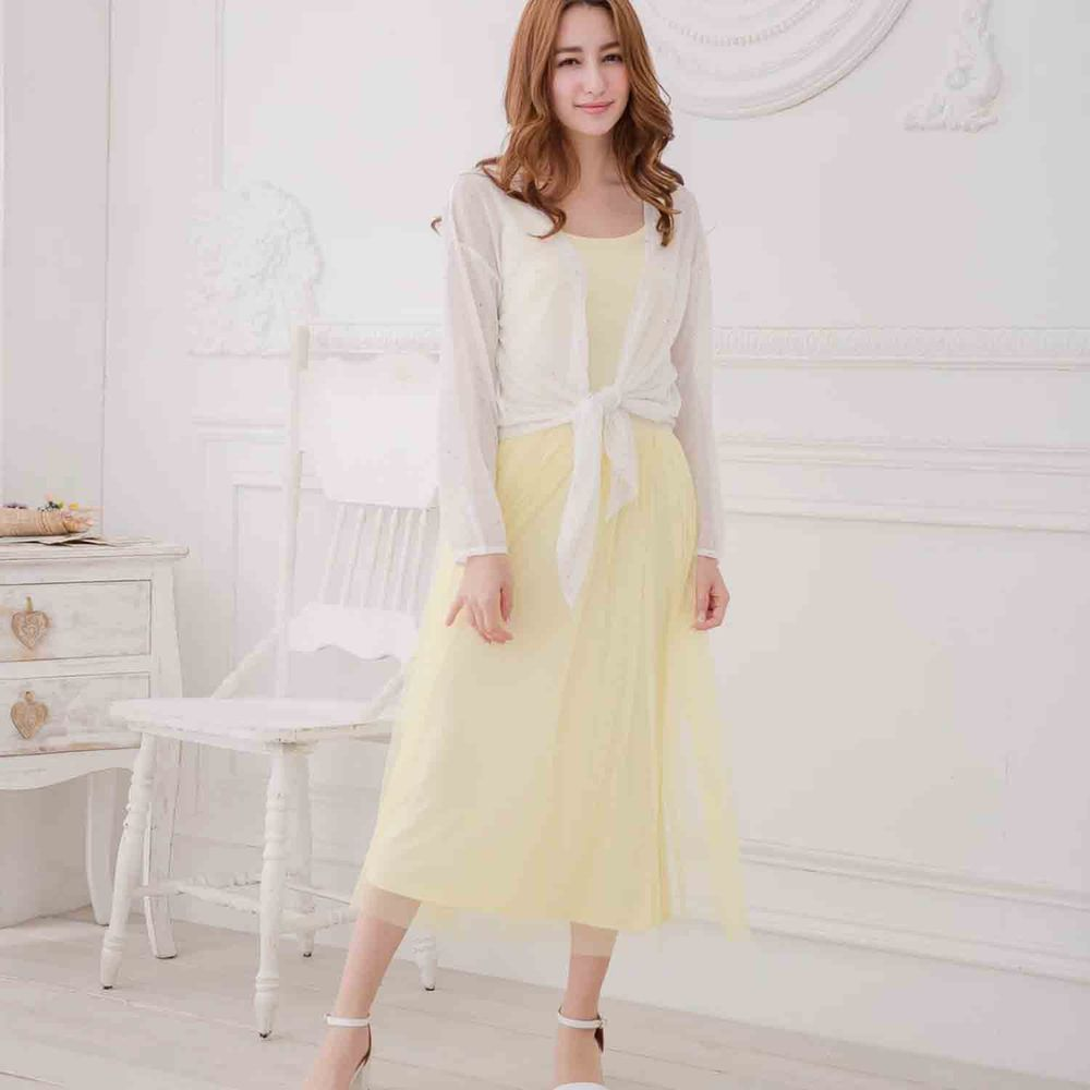 Peachy - 獨家訂製綿柔連身紗裙-細肩帶連身款-嫩鵝黃 (F)