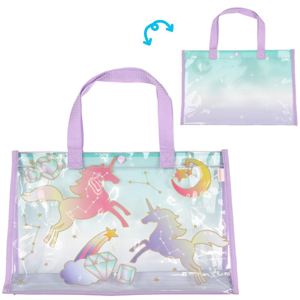 日本服飾代購 - 防水PVC游泳包(雙面圖案設計)-獨角獸星座-紫 (25x36x13cm)