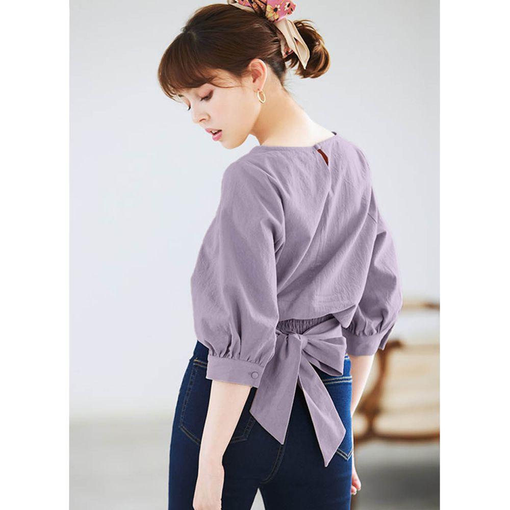 日本 GRL - 後腰大蝴蝶結綁帶五分袖上衣-紫羅蘭
